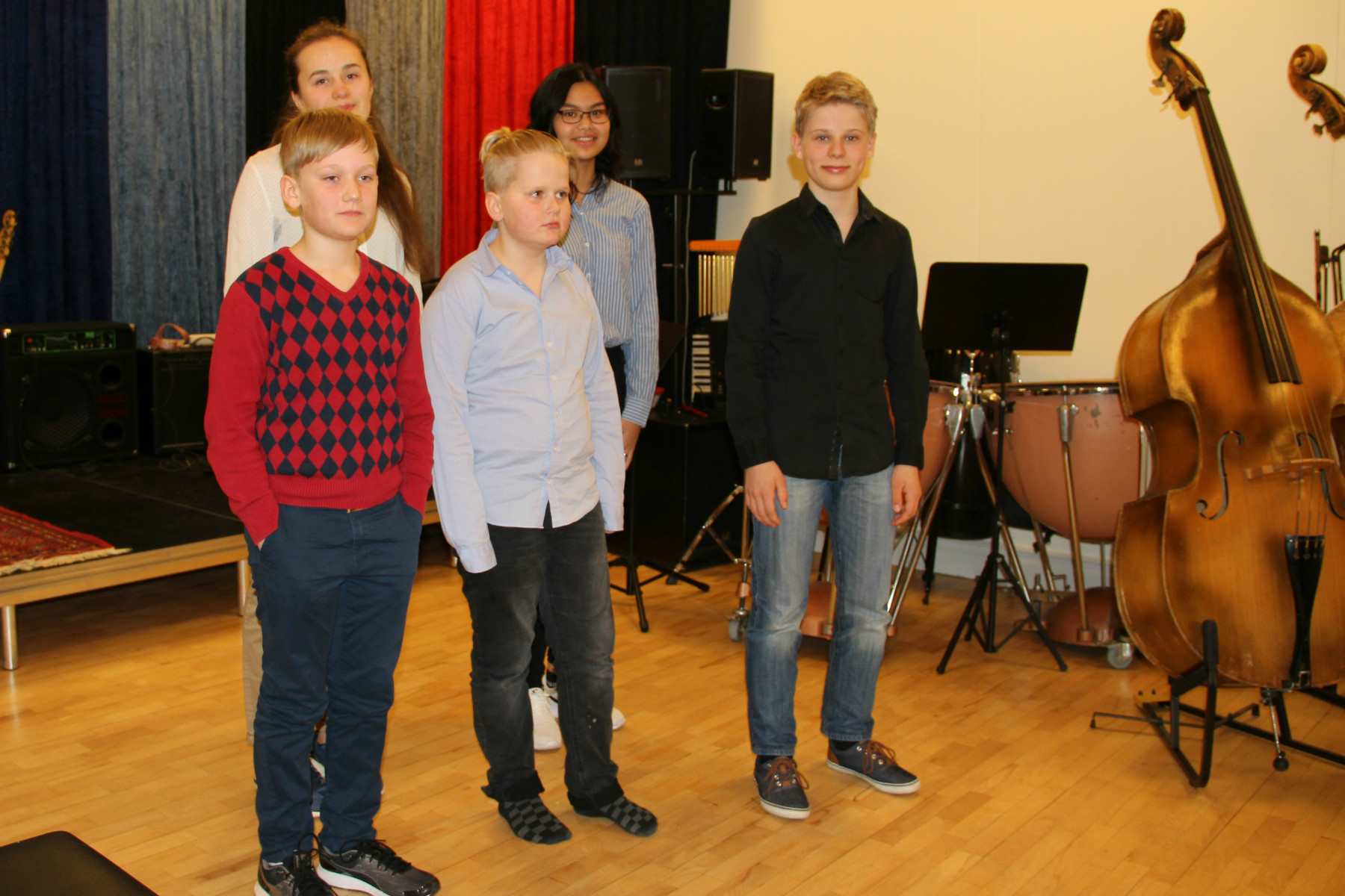 2017-03-21. Musikskolans minikonsert. Fr.v. Måns Vennberg, Rim Roos, Nils Särström-Olsson, Punnada Tanataninkul, Bruno Dettman.